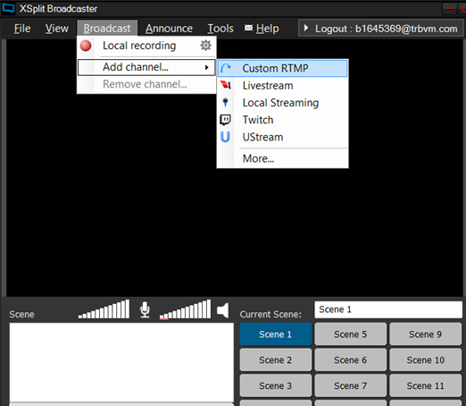 Select Broadcast -> Add channel -> Custom RTMP